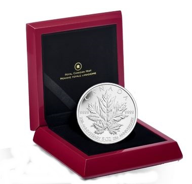 2013 5oz Silver Maple Leaf - 25th Anniversary Edition
